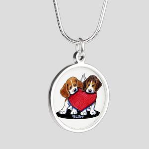 Beagle Heartfelt Duo Silver Round Necklace