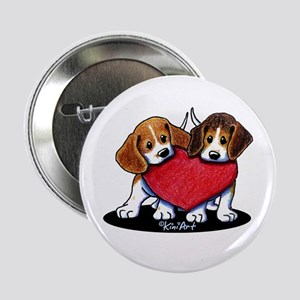 "Beagle Heartfelt Duo 2.25"" Button"