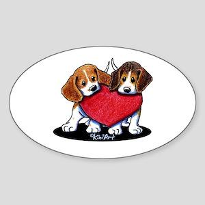 Beagle Heartfelt Duo Sticker (Oval)