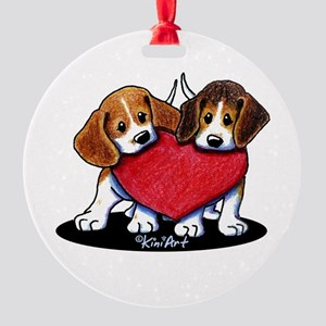 Beagle Heartfelt Duo Round Ornament