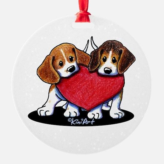 Beagle Heartfelt Duo Ornament