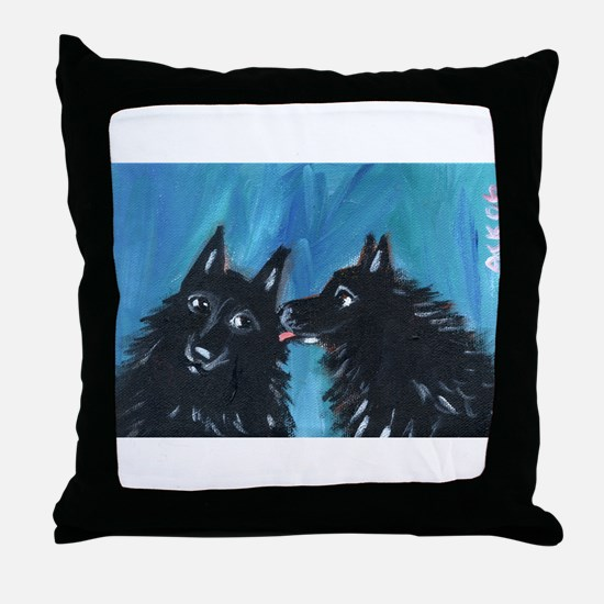 Schipperke kiss Throw Pillow