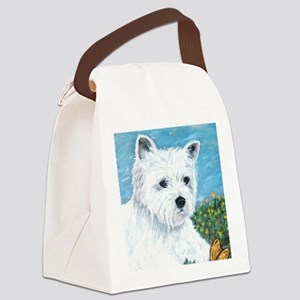 Westie & Butterfly Canvas Lunch Bag