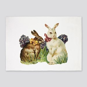 easter rabbits 5'x7'Area Rug