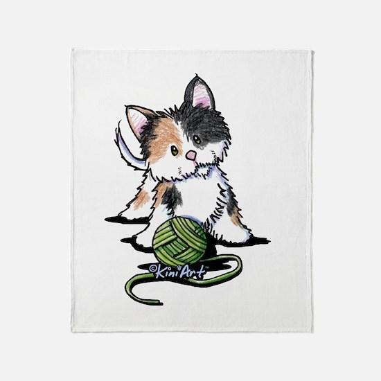 Playful Calico Kitten Throw Blanket