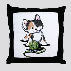 Playful Calico Kitten Throw Pillow