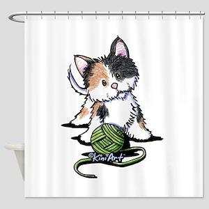 Playful Calico Kitten Shower Curtain