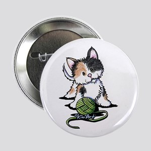 "Playful Calico Kitten 2.25"" Button"