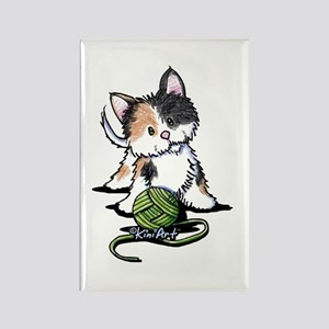 Playful Calico Kitten Rectangle Magnet