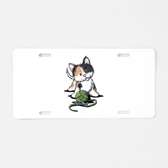 Playful Calico Kitten Aluminum License Plate