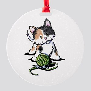 Playful Calico Kitten Round Ornament