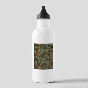 Vintage Green Floral Water Bottle