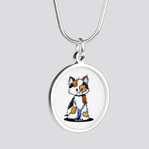 Calico Patches Silver Round Necklace