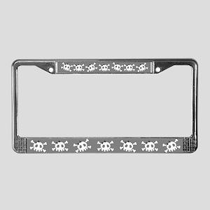 Gray Skull License Plate Frame
