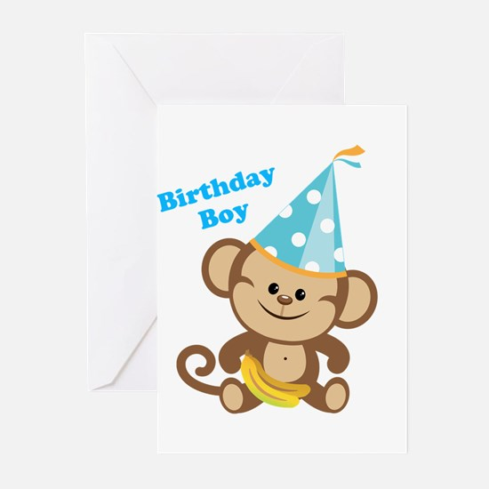 Birthday Boy Monkey Greeting Cards (Pk of 20)