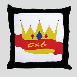 King Crown Ribbon Throw Pillow