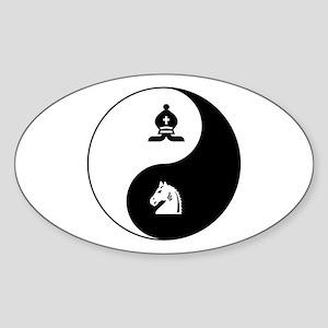Bishop-Knight yin yang Oval Sticker