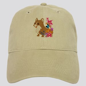 Red and White Corgi with Floral design Baseball Ca