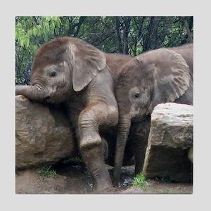 Playful Elephants Tile Coaster