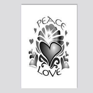 Peace and Love Heart 2 Postcards (Package of 8)