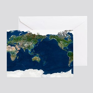 Greeting Card - Whole Earth, satellite image