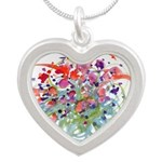 Atom Flowers #16 Silver Heart Necklace