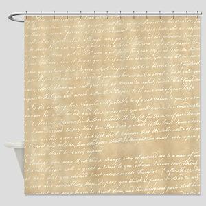 Cream Script Shower Curtain