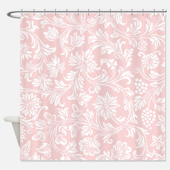 Pink and White Damask Shower Curtain