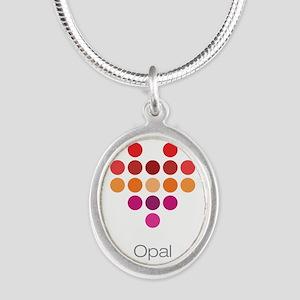 I Heart Opal Silver Oval Necklace