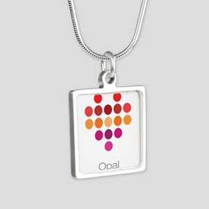 I Heart Opal Silver Square Necklace