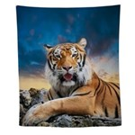 Tiger Sunset Wall Tapestry