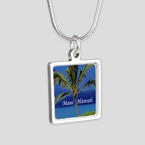 Maui Hawaii Silver Square Necklace