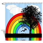 Tree Swing Rainbow Shower Curtain