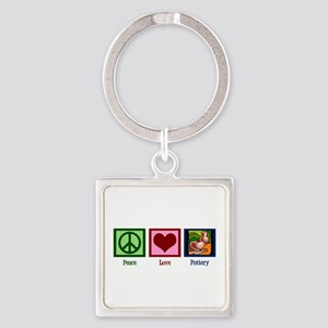 Peace Love Pottery Square Keychain