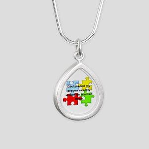 Autism Silver Teardrop Necklace