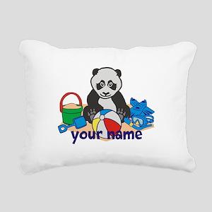 Personalized Beach Panda Rectangular Canvas Pillow