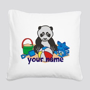 Personalized Beach Panda Square Canvas Pillow