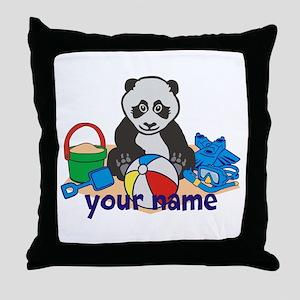 Personalized Beach Panda Throw Pillow
