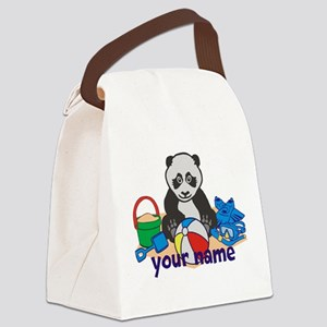 Personalized Beach Panda Canvas Lunch Bag