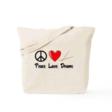 Peace, Love, Drums Tote Bag
