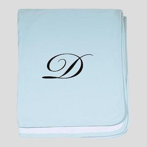 Bickham Script Monogram D baby blanket