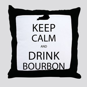 Keep Calm and Drink Bourbon Throw Pillow