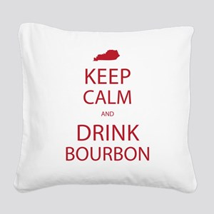 Keep Calm and Drink Bourbon Square Canvas Pillow