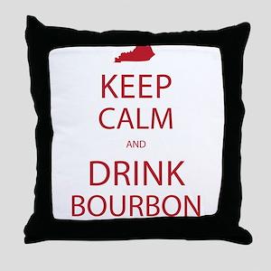Keep Calm and Drink Bourbon Throw Pillow