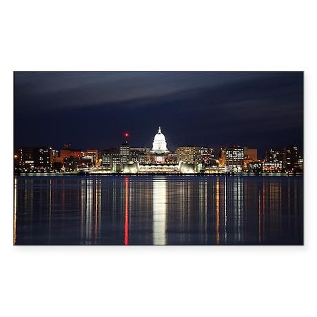 Sticker (Rectangle) - Skyline Of Madison Wisconsin
