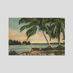Vintage Coconut Palms Rectangle Magnet