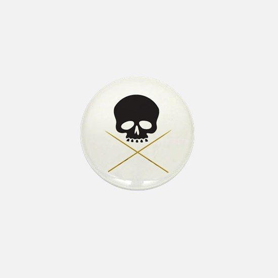 Skull with Drumsticks Mini Button
