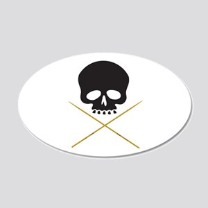 Skull with Drumsticks Wall Decal