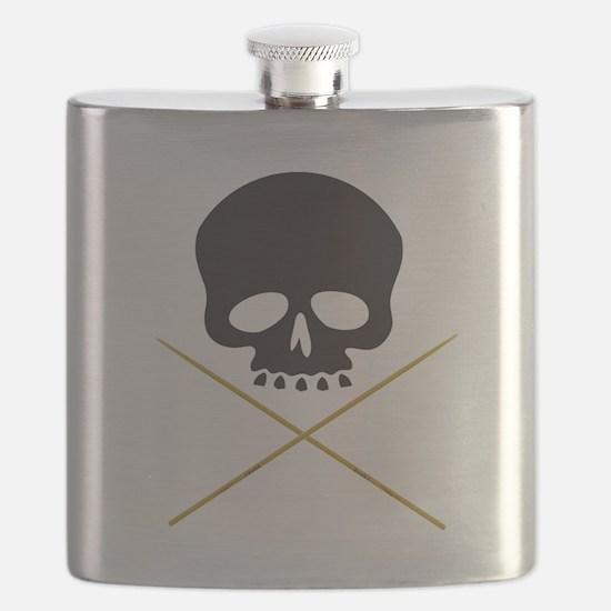 Skull with Drumsticks Flask