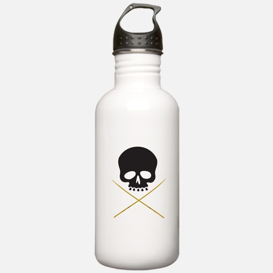 Skull with Drumsticks Water Bottle